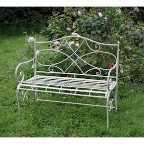 Folding Cream Metal Garden Bench