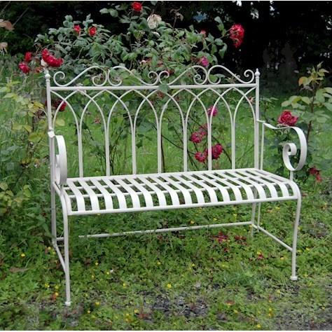 Kings Cream Metal Garden Bench Homegenies