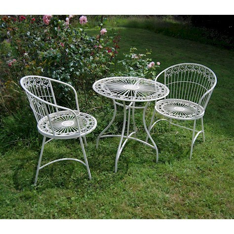Cream Bistro Garden table and Chairs Homegenies