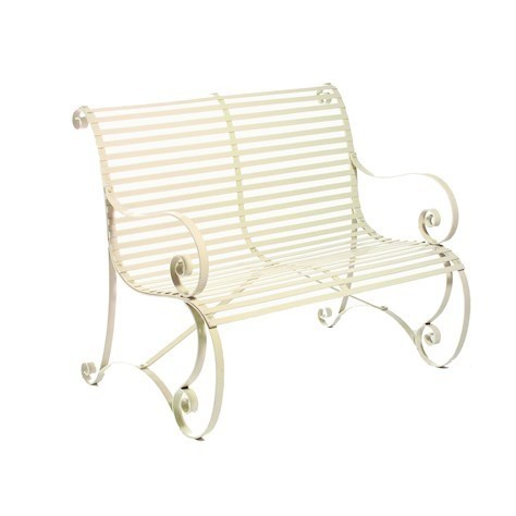 Curved cream metal garden bench