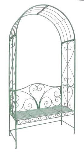 Pale green metal garden arbour bench