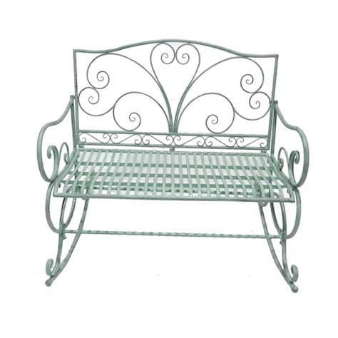 Pale green metal rocking garden bench