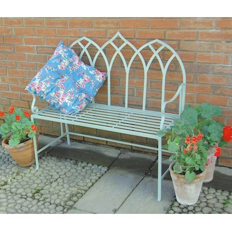 Gothic green metal garden bench