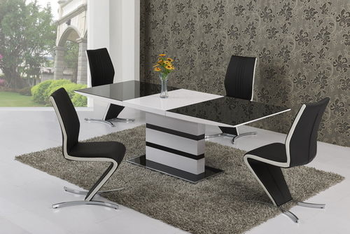 Extending Gloss with Glass Dining Table and 6 White Stripe Chairs set