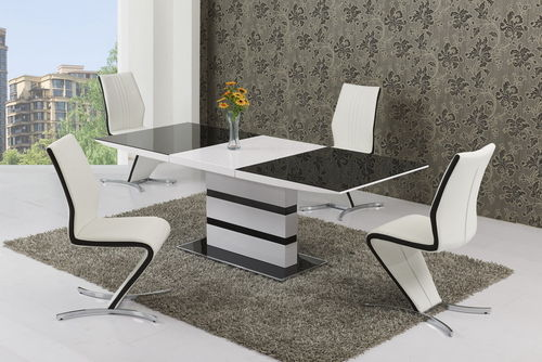 Small Glass White High Gloss Extendable Dining Table and 6 Chairs Set