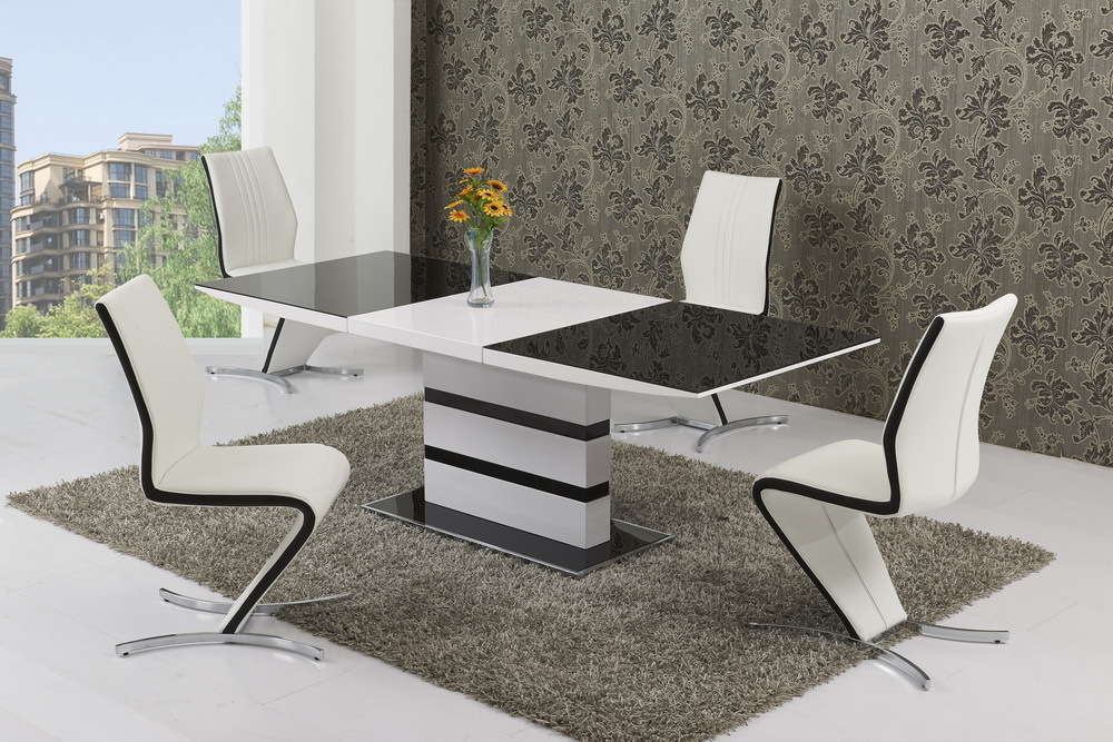 Black Glass White High Gloss Extendable Dining Table And 8 Chairs