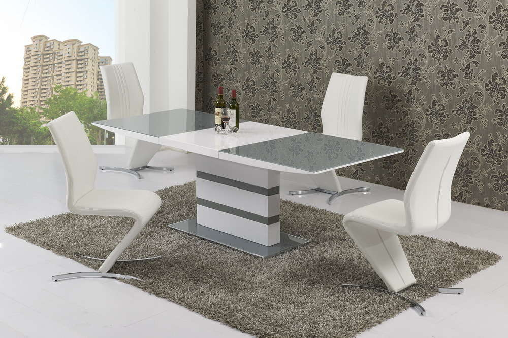 Superb Small Extending 4 Seater Gloss Grey Glass Dining Table U0026 Chairs Set
