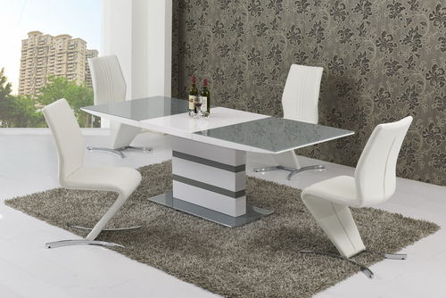 Large Extending 6 Seater gloss grey glass dining table & chairs set