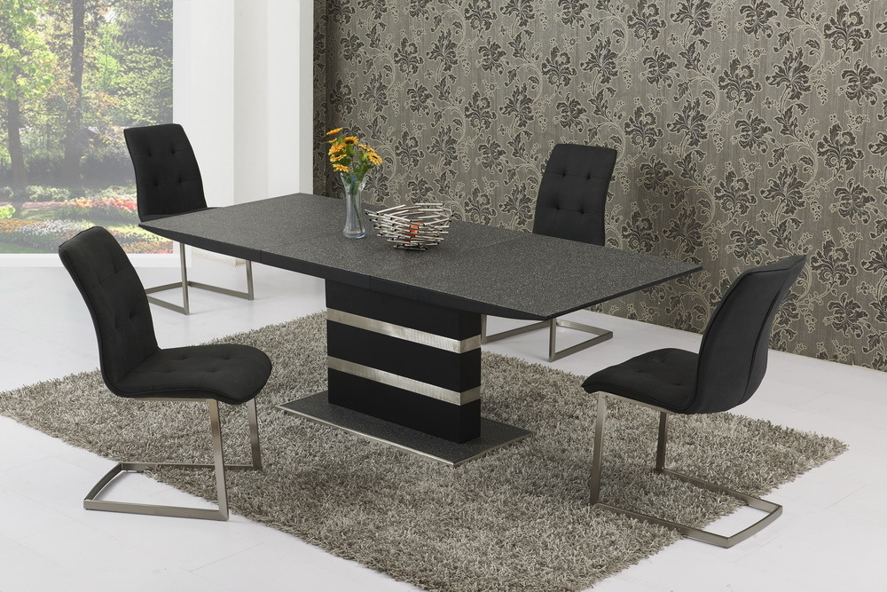 Large Extending Black Stone Effect Glass Dining Table & 6