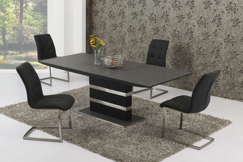 e5d5a23685c Large Extending Black Stone Effect Glass Dining Table and 8 Chairs Set