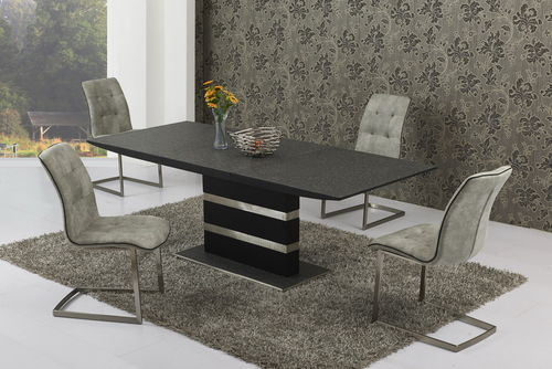 Small Extending Stone set Glass Dining Table and 6 Grey Chairs set