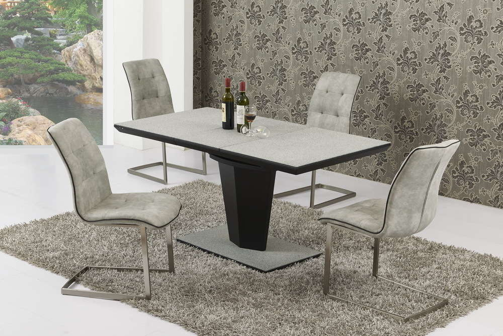 Small Extending Grey Stone Effect Glass Dining Table And 4 Chairs Set