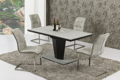 Extending Large Grey Stone Effect Glass Dining Table and 8 Chairs Set