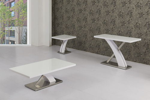 White High Gloss Glass Lamp Table