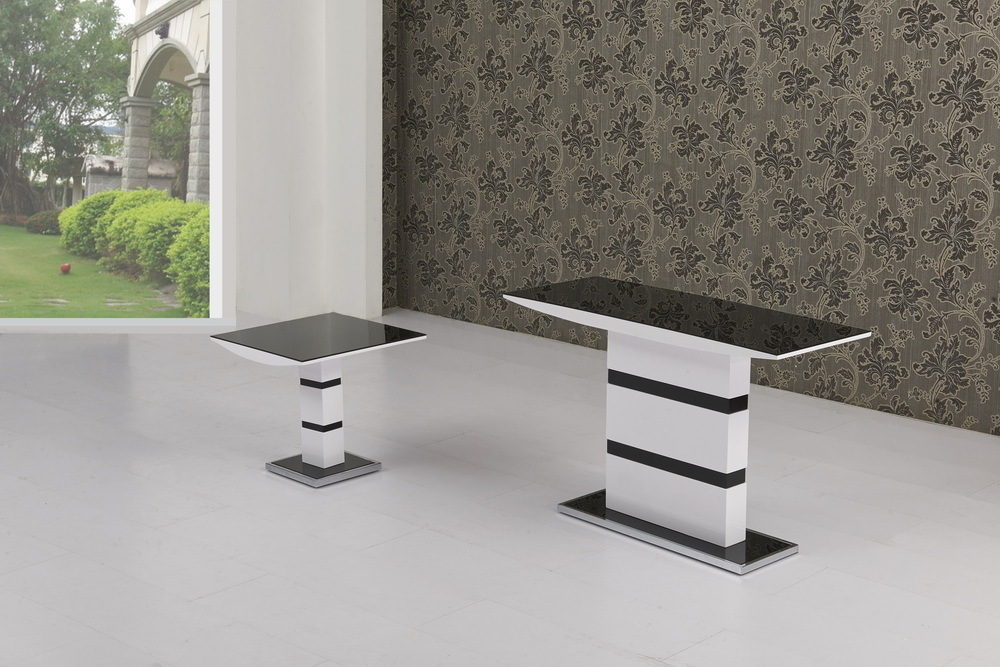top fashion 3e26a d28e6 Details about Black Glass with White High Gloss Console Table