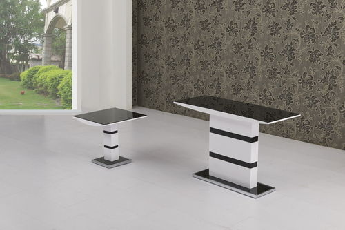 Black Glass with White High Gloss Lamp Table