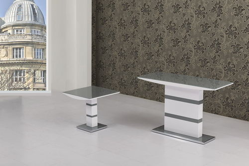 Grey Glass with White High Gloss Lamp Table