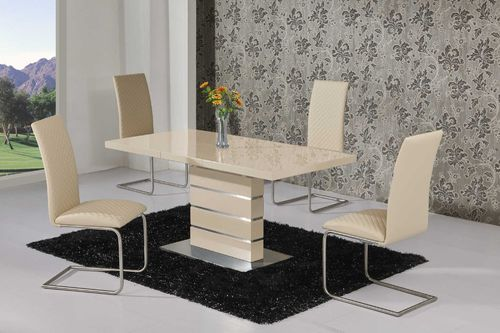 Extending Cream High Gloss Dining Table and 4 Cream Chairs Set