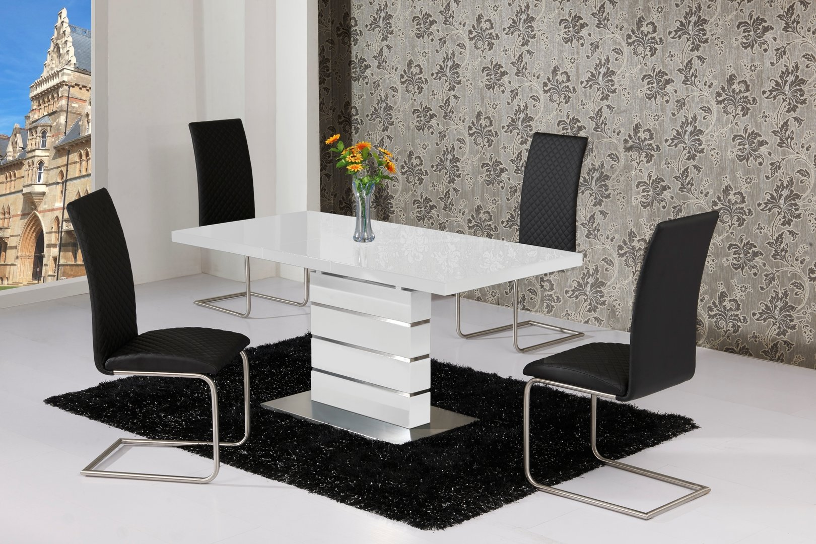 Extending white high gloss dining table and 4 black chairs for White dining table and 4 chairs