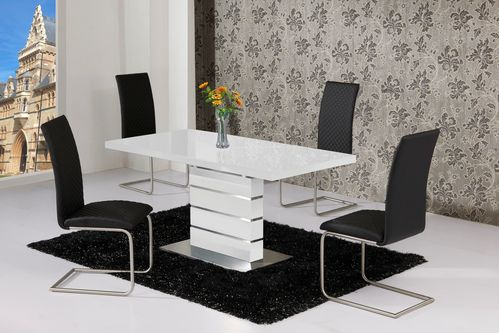 Extending White High Gloss Dining Table and 4 Black Chairs Set