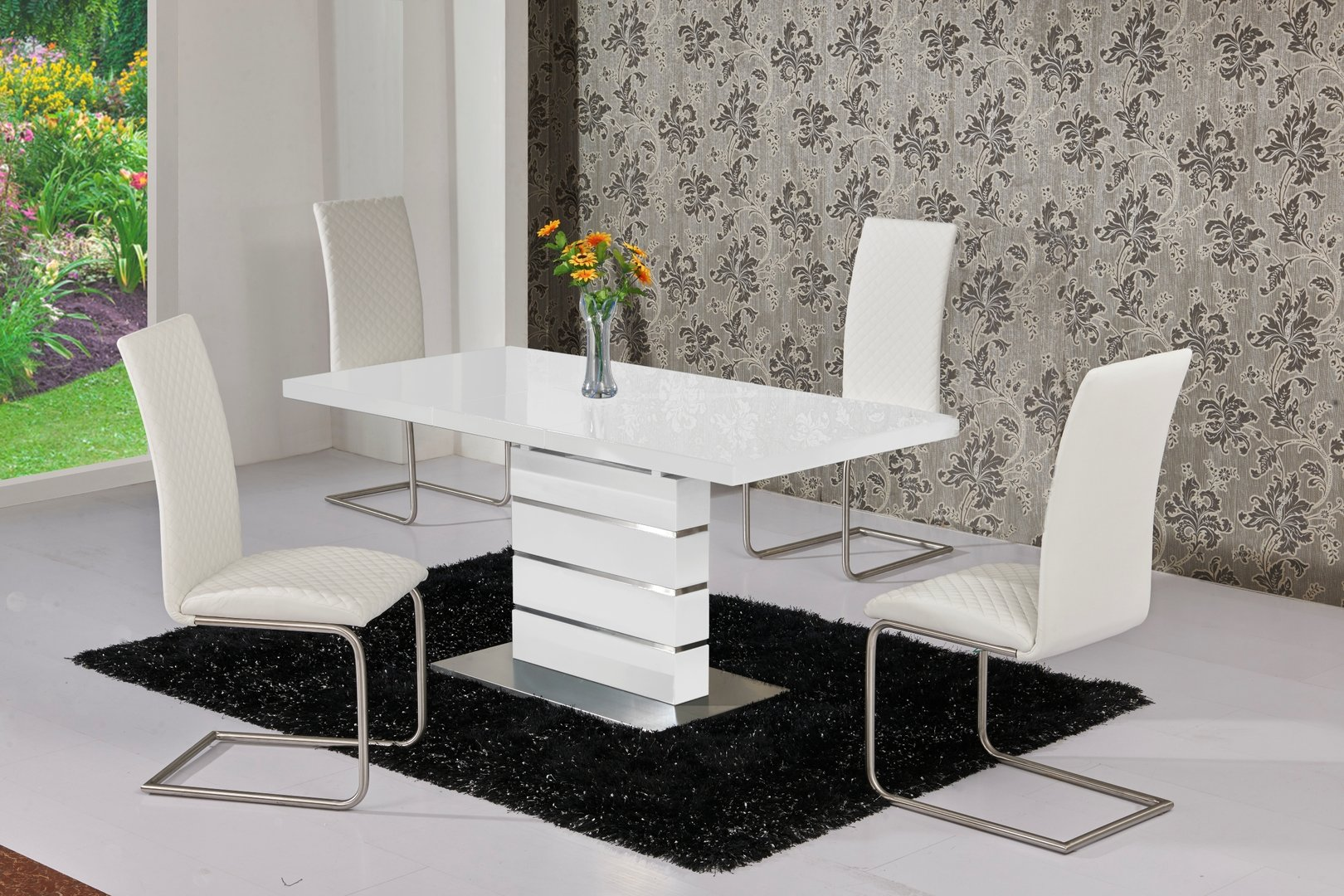 extendable white high gloss dining table and 6 white chairs. Black Bedroom Furniture Sets. Home Design Ideas
