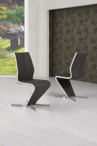 Grey with White Stripe Faux Leather Dining Chair x2