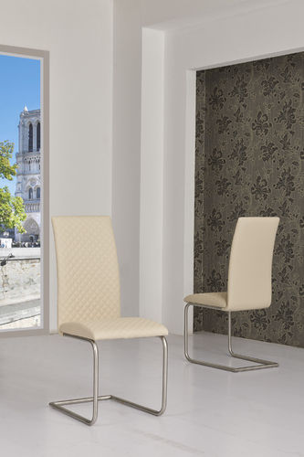 Cream Faux Leather Dining Chairs