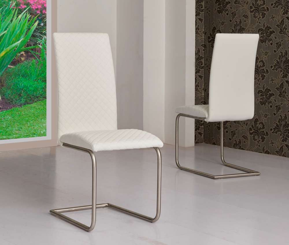 White Faux Leather Dining Chairs Homegenies