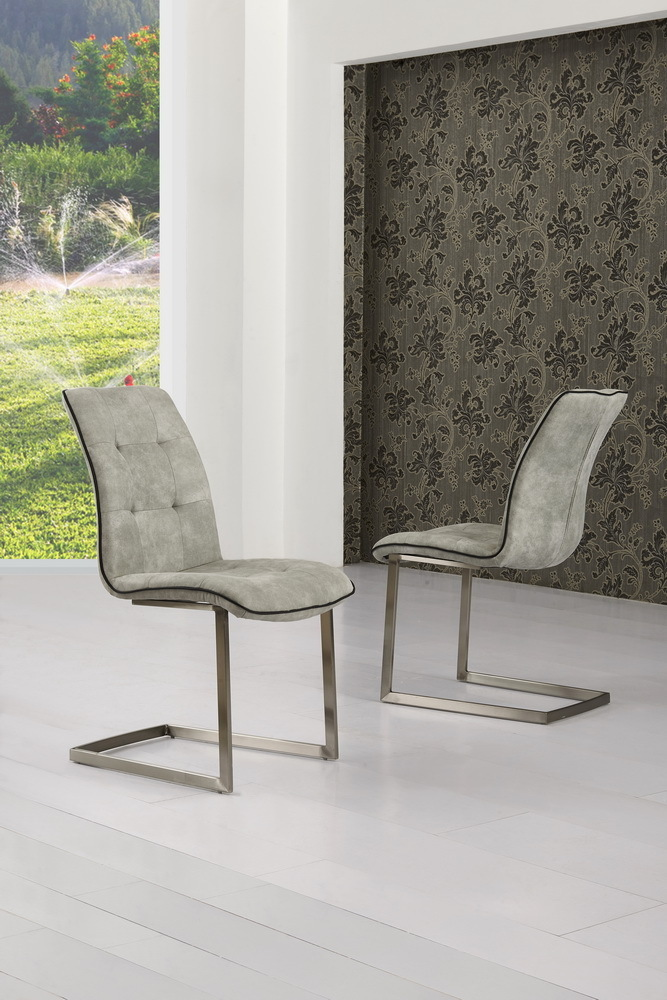 Grey Suede Effect Dining Chairs Homegenies