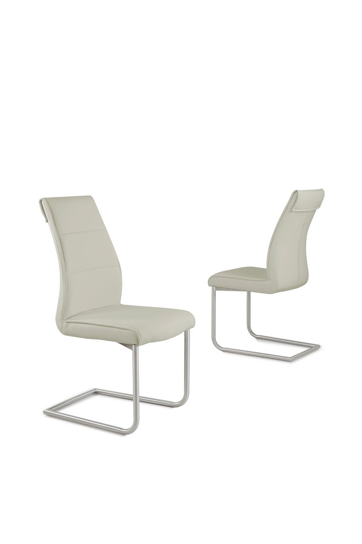 Taupe Faux Leather Dining Chairs Homegenies