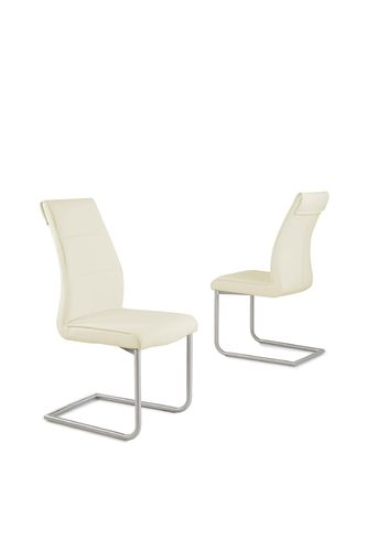 Cream Faux Leather Dining Chairs with Chrome Legs