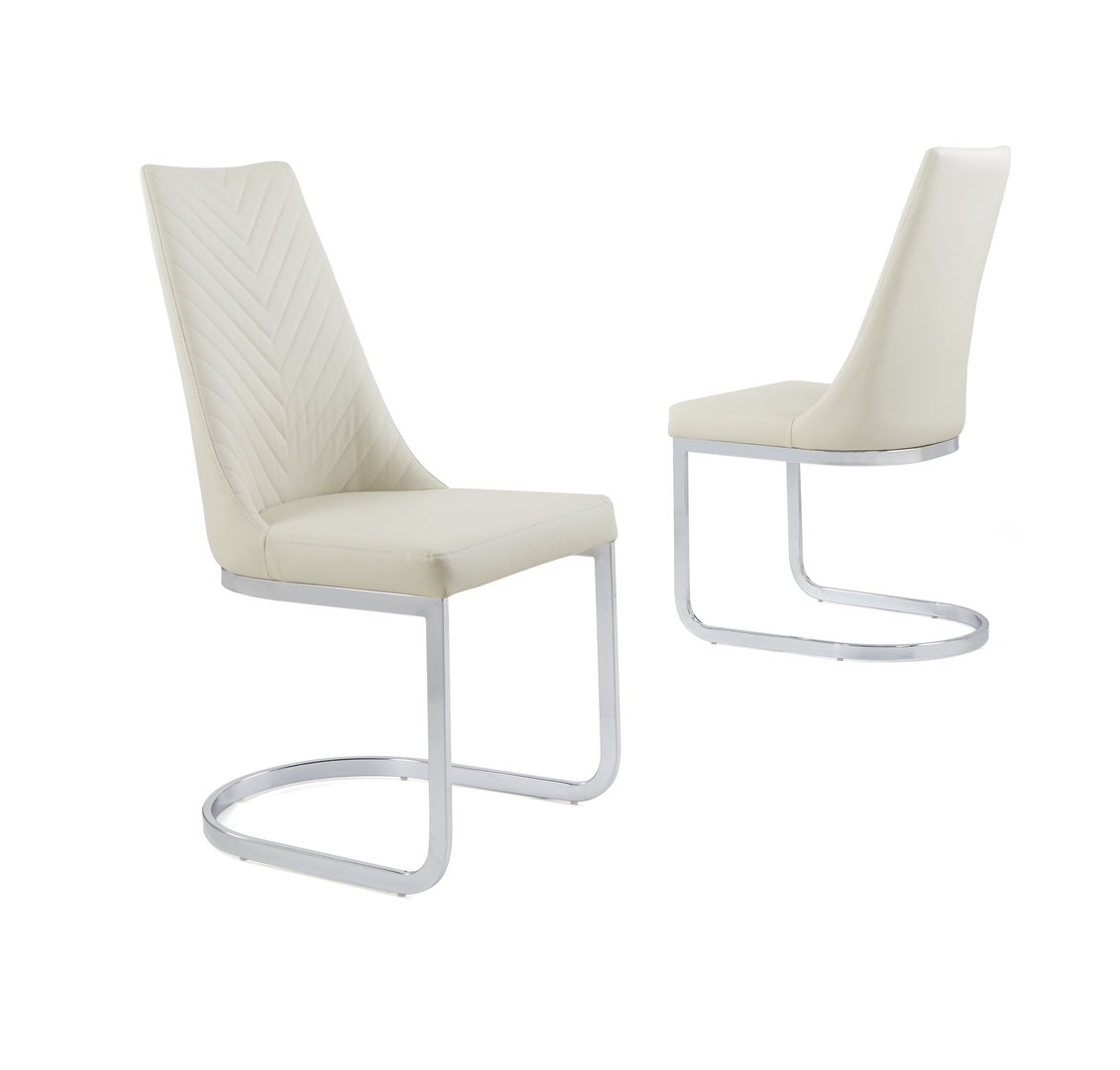 Cream Leather Dining Room Chairs: Cream Faux Leather Dining Chair With Curved Leg