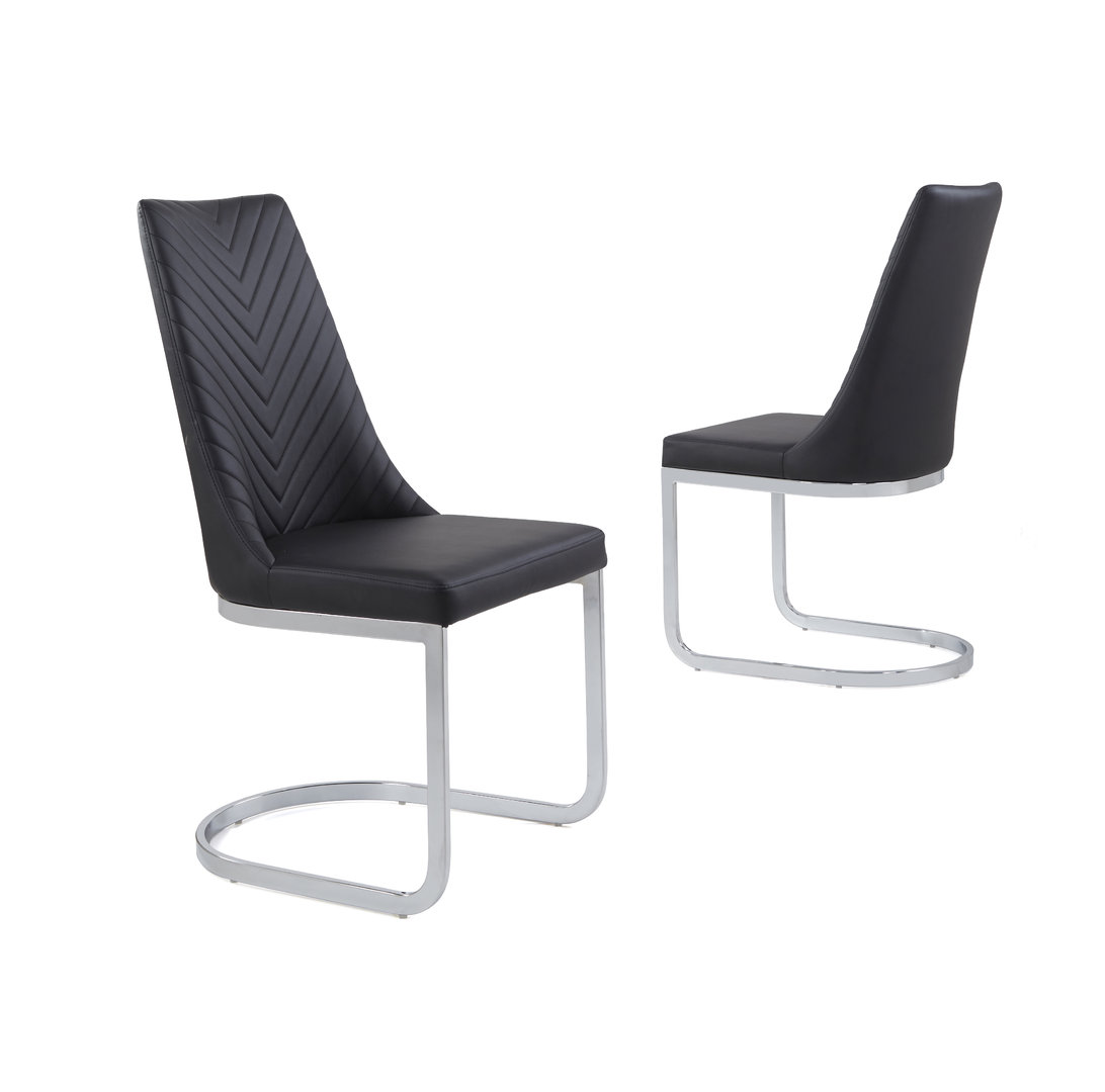 Fantastic Black Faux Leather Dining Chair With Curved Leg Pabps2019 Chair Design Images Pabps2019Com