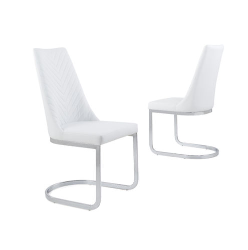 White Faux Leather Dining Chair with Curved Leg