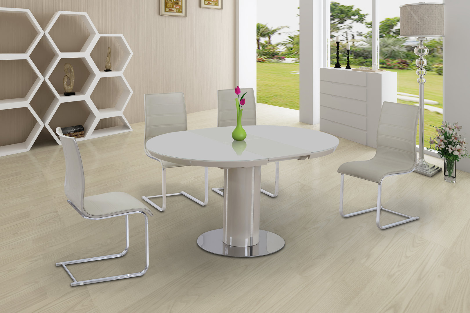 Round cream glass high gloss dining table 6 chairs for Round dining table for 6