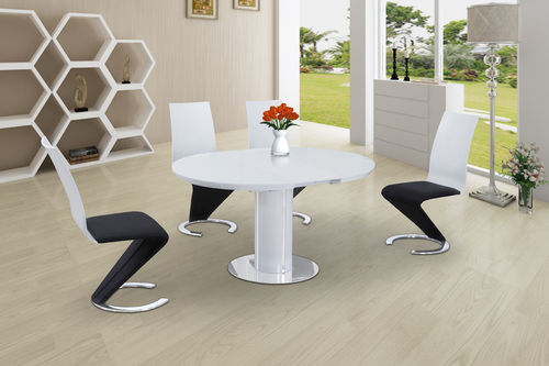 Round High Gloss Glass Dining and 4 Black with White Chairs set