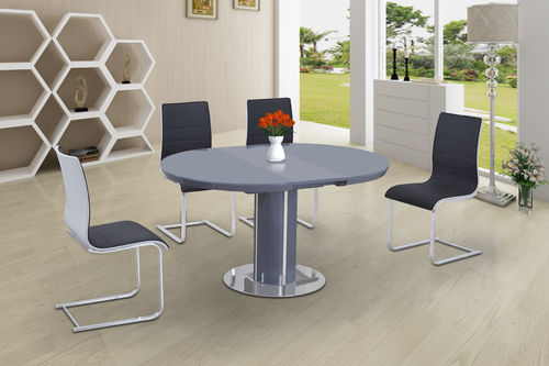 Round High Gloss Glass Dining and 4 Grey with White Chairs set
