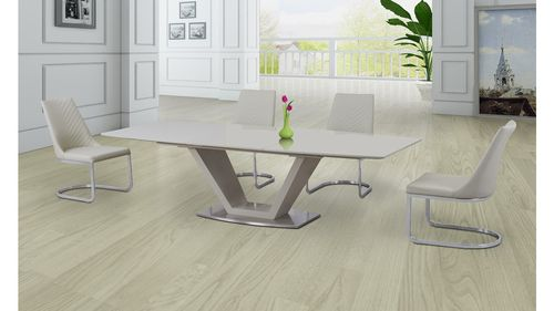 Cream Glass High Gloss Extending Dining Table and 6 Cream Chairs Set