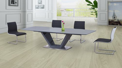 Grey Glass High Gloss Extending Dining Table and 8 Gloss Chairs Set