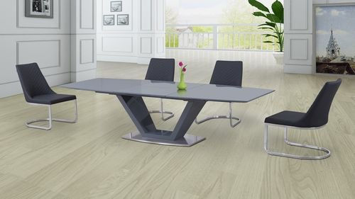 Grey Glass High Gloss Dining Table and 8 Grey Curve Chairs Set