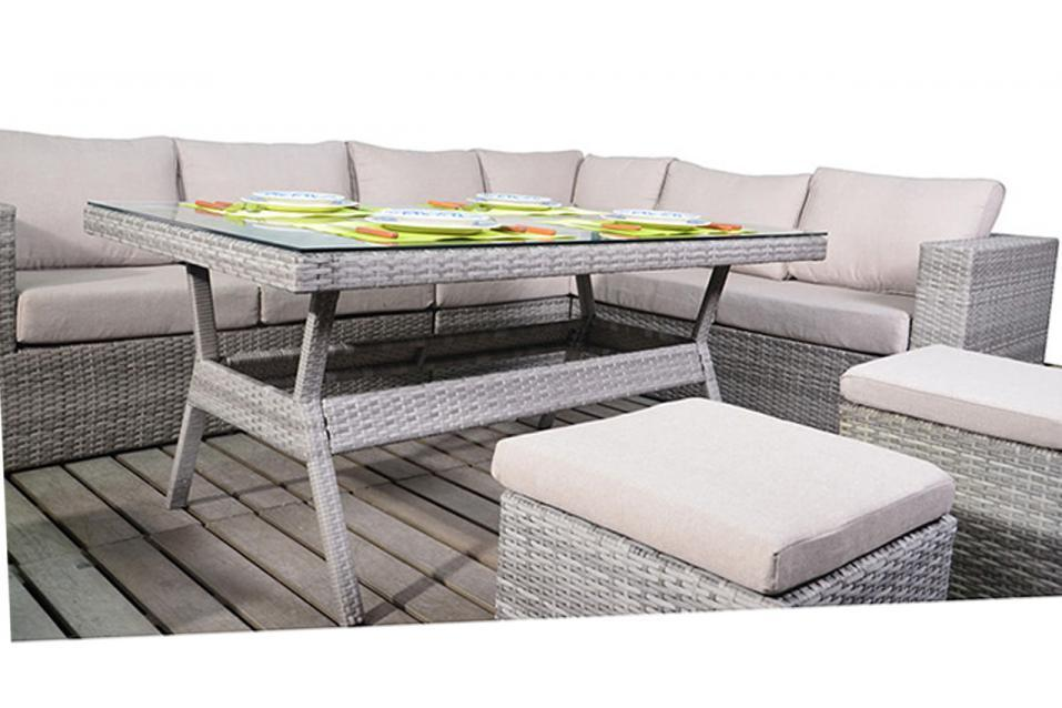 Rustic Right Rattan Corner Sofa With Dining Table Set Homegenies