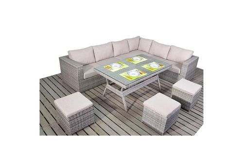 Rustic Right Rattan Corner Sofa with Dining table set