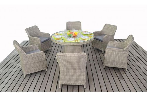 Rural rattan round table and 6 chairs set