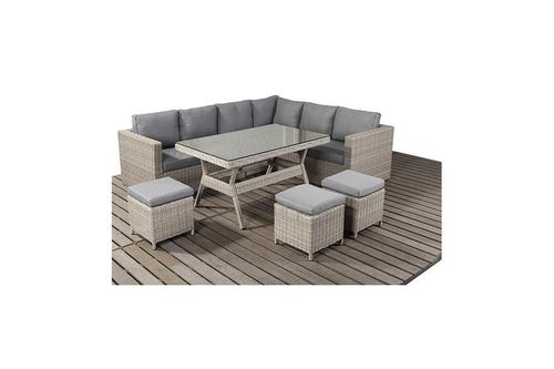 Rural rattan Right corner sofa set with dining table