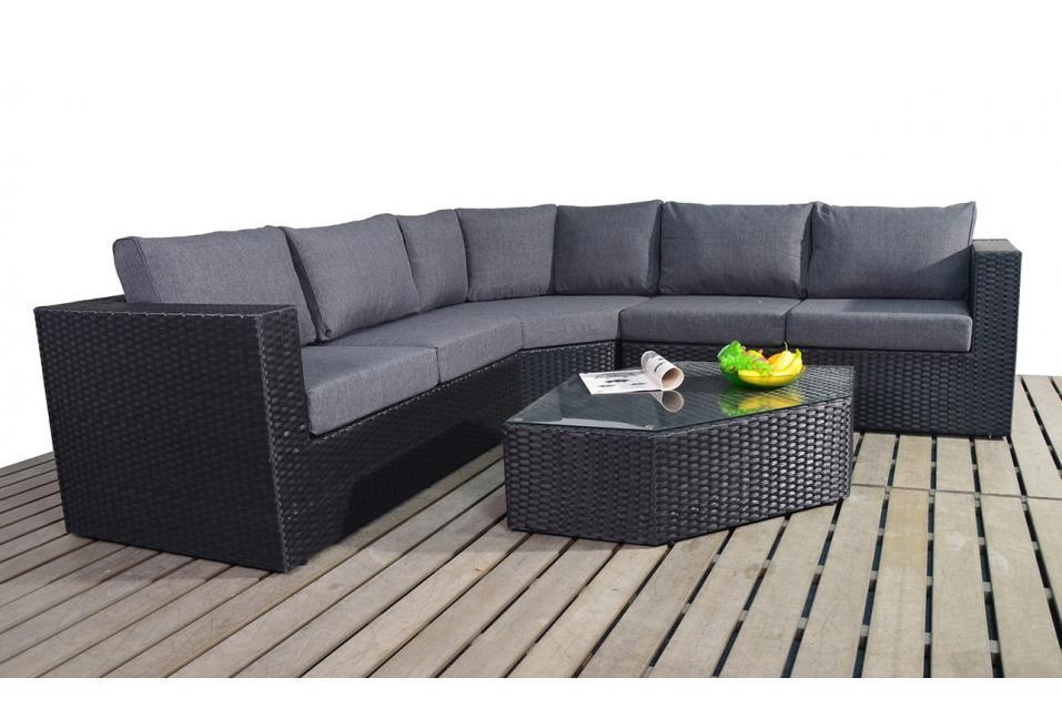 Prestige Black Rattan Angle Corner Sofa Set Homegenies