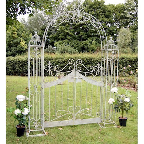 Ornamental Metal Garden Arch Gates in Antiqued Blue