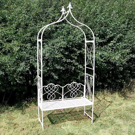 Cream metal garden arbour bench