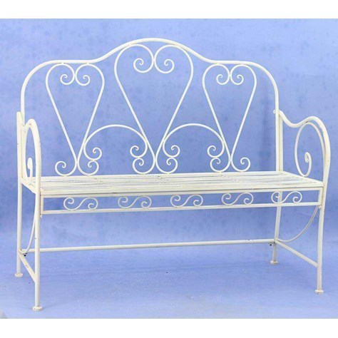 Classic Design Cream Metal Garden Bench