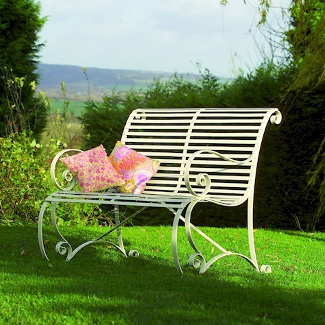 Cream rollback metal garden bench