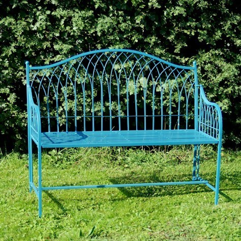 Blue metal garden bench